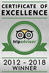 Trip Advisor 2012, 2013, 2014, 2015, 2016, 2017 and 2018 Winner - Certificate of Excellence awarded to The Penthouse Hotel